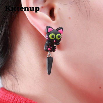 Kittenup New Fashion Cute Handmade Polymer Clay Lovely Black Long tail Cat Animal Stud Earrings For Women brincos 0501