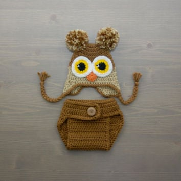 Crochet Owl Costume, Crochet Owl Set, Baby Owl Costume, Diaper Cover Set, Crochet Baby Hat, Brown Owl, Newborn Photography Prop, Photo Prop