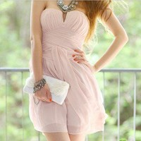 Sweet pink pure strapless dress