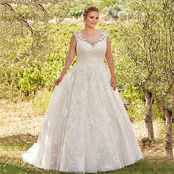 Wedding Bridal Dress Lace Tulle Sheer Scoop Illusion