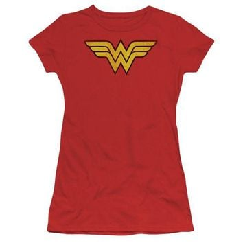 DCCKM83 Wonder Woman Logo Dist Short Sleeve Junior Sheer