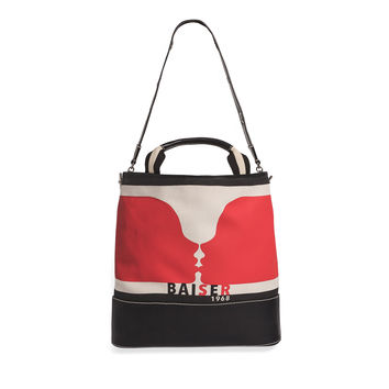 Sonia Rykiel Baiser Graphic Print Canvas Leather Tote - ShopBAZAAR