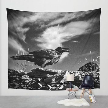 Clouds and Raven, Macabre Wall Tapestry - 4 Sizes