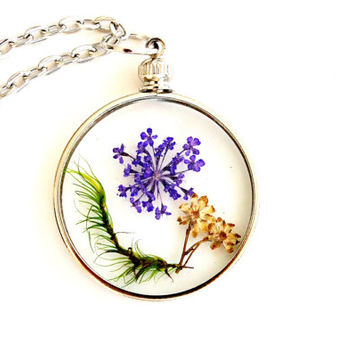 Purple Flower and Moss Terrarium Necklace Nature Jewelry Round Glass Pendant Antique Silver Plated Chain