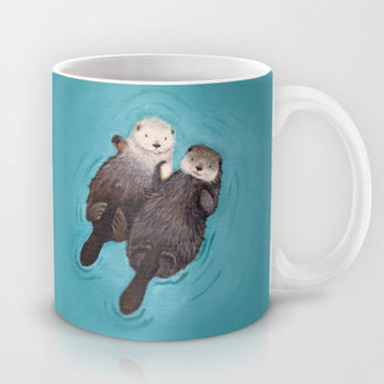 Otterly Romantic - Otters Holding Hands Mug by When Guinea Pigs Fly