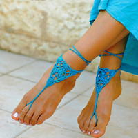 Crochet  barefoot  sandals Beach wedding shoes Beach sandals Beach anklet Summer wedding Summer gift  Summer sale Foot jewelry