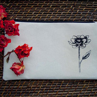Canvas clutch, screen printed flower, makeup bag, floral clutch, zipper pouch, screen print, zippered pouch,
