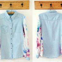 Printing Sleeve Denim Shirt from Charmaco