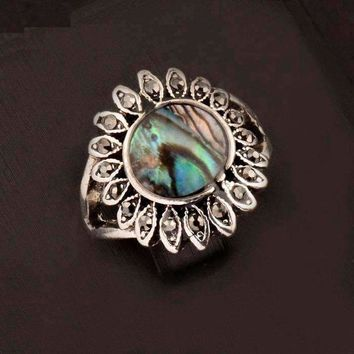 Sunburst Abalone Shell and Black Crystal Vintage Silver Ring