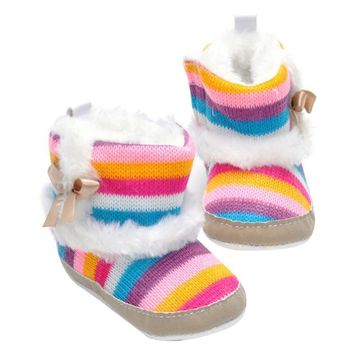 Baby Shoes Boots Winter Newborn Girl Baby Infant Toddler Princess Snow Knitting Boots