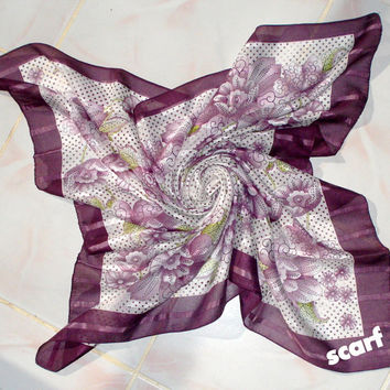 Scarf Purple Flower Cotton , Mother's Day Gifts , Turkish Claret Red Scarf , Hand Crocheted Lace Scarf , Purple Flower Cotton , Cotton Scarf