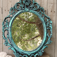 Shabby Chic Mirror, Tiffany Blue, Black, Oval, Upcycled, Ornate, Wedding Decor, Painted Mirror, Hollywood Regency, Baroque Mirror, Aqua