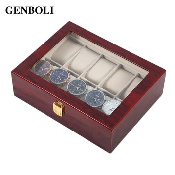 GENBOLI 10 Grids Watch Boxes Jewelry Wooden Automatic Packaging Case Gift Storage Display Casket Organizer Rack Drop Shipping