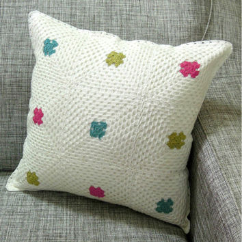 SantaFae CRCOHET PILLOW - Handmde Crochet Cushion - Set 2 White Multi Color -  Hot Pink - Olive - Dark Cyan Color - 2015 Home decor trends