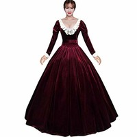 Partiss Womens Wine Red Velvet Long Sleeves Lace Victorian Dress