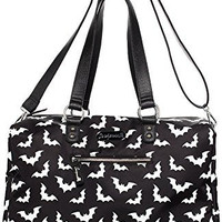 Sourpuss Spooksville Bats Bk/Wt Travel Bag Goth Punk Psychobilly Weekend Duffle