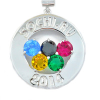 Sochi Olympics Medallion 2014 Gemstone Pendant .925 Sterling Silver Rhodium Finish