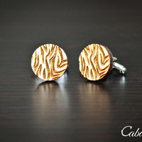 Personalized Wood Engraved Zebra Print Cufflinks ~ Gift For Him, Weddings, Anniversary, Holiday