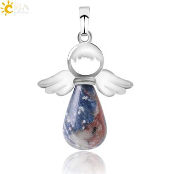 CSJA Natural Stone Angel Wings Pendant for Necklace Pink Quartz Onyx Silver-color  Water Drop Pendants Female Jewelry Gift E949