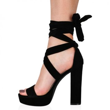 Adrina Lace Up Heels in Black Faux Suede