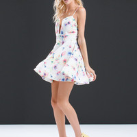 Flower Painting Cut-Out Skater Dress