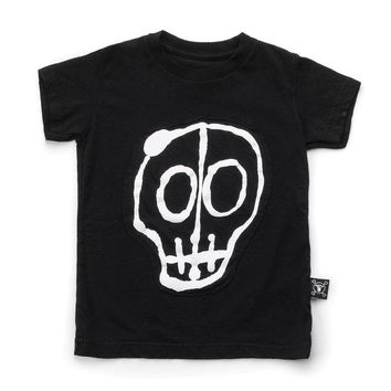 Skull Mask Patch T-Shirt For Kids 1-10 Age Cotton Short Sleeve T-Shirts Tees Tops Girls Clothes