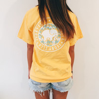 Pocketed Citrus Chevron Short Sleeve Tee