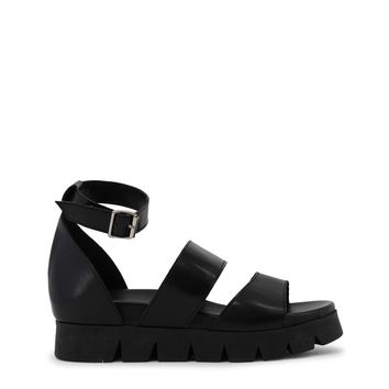 Ana Lublin Black Ankle Strap Leather Sandals