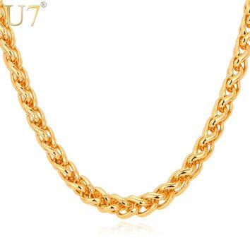 U7 Rock Men Jewelry Gold Color Necklace 6mm Thick 55cm Round Wheat Chain Necklace N366