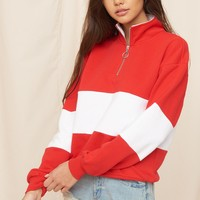 Mock Neck Zip Pullover Sweatshirt