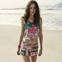 """Adidas"" Women Casual Multicolor Pattern Print Sleeveless Vest Crop Tops Shorts Set Two-Piece Sportswear"