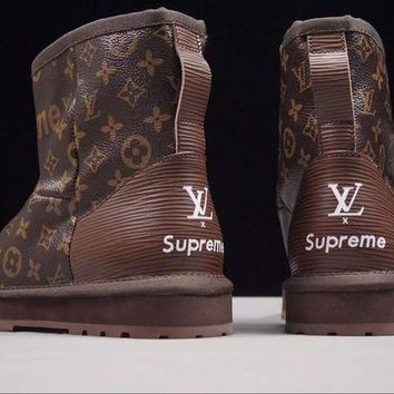 Louis Vuitton LV x Supreme x UGG Fashion Women Winter Customise Brown Print Wool Warm Mid Boost High Quality I