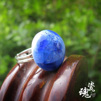 Gift New Arrival Shiny Stylish Jewelry Innovative Strong Character Pottery Accessory Blue Korean Couple Ring [6586104391]