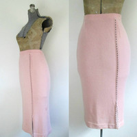 Pink Pencil Sweater Skirt Below Knee Bodycon