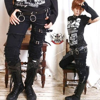PUNK EMO Skinny Fray Buckle Stretch Black Denim JEANS