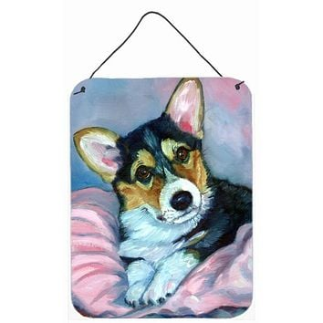 Corgi Puppy with pink blanket Wall or Door Hanging Prints 7301DS1216