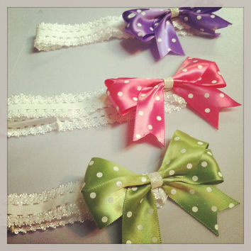 Polka Dot Headband Bows for Babies