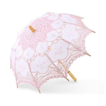 Vintage Pink Battenburg Lace Parasol - Standard (Pack of 1)