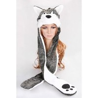 Husky Animal Hat with Mittens