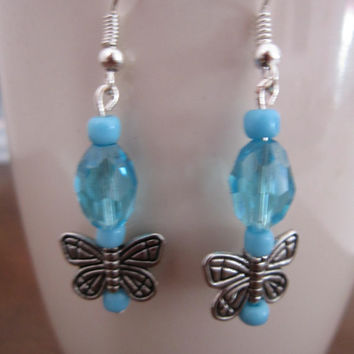Tween Antique Silver-Tone Butterfly Hypo-Allergenic Earrings with Aqua Glass Bead/Blue Seed Bead Accents