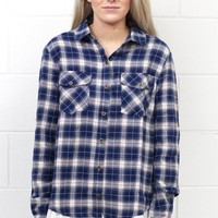 Touch of Lace Plaid Flannel {Navy Mix}