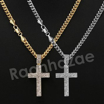 """Iced Out 14K Pt Gold Round CLASSIC JESUS CROSS Pendant W/5mm 24"""" 30"""" Cuban Chain"""
