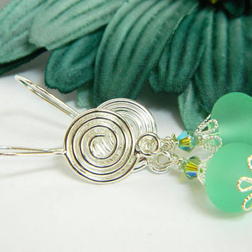 Sea Glass Lampwork Earrings Short Handcrafted Pale Green Crystal Silver