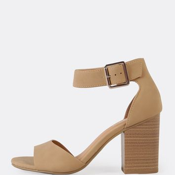 Ankle Strap Single Band Chunky Heel | MakeMeChic.COM