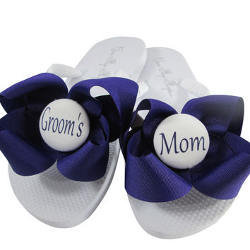 007605cf19a8f5 Design your own Groom s Mom Bow Wedding Flip Flop Sandals-choose colors    size