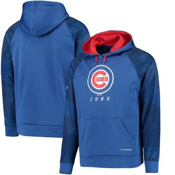 Men's Chicago Cubs Majestic Royal Armor II Tonal Therma Base Pullover Hoodie