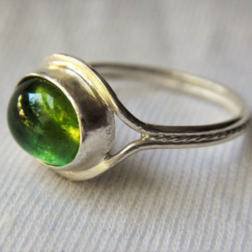 Mint Green Tourmaline and Sterling Silver Ring