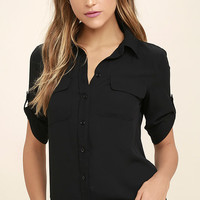 Best of Friends Black Button-Up Top