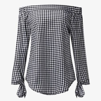 Women's Summer Blouse Casual/3/4 Sleeve Plaid Top