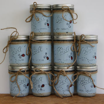 Distressed mason jars, Ladybug decor, bathroom decor, Mason jar decor, Painted mason jars, Bathroom storage jar, Blue Mason jar candleholder